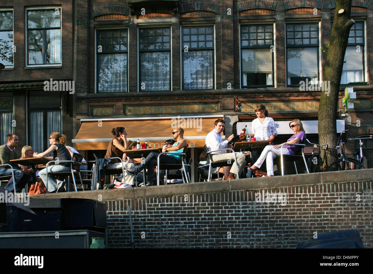The Netherlands Holland Amsterdam Prinsengracht 703 Terrace Tourist Canal - Stock Image
