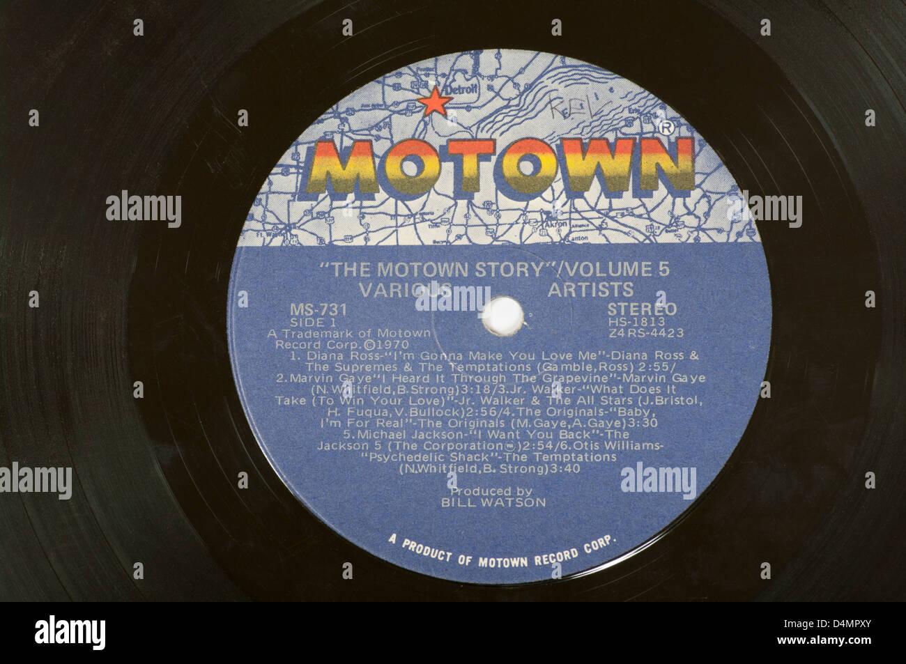 Motown Record Label On A Vinyl Lp Record Stock Photo