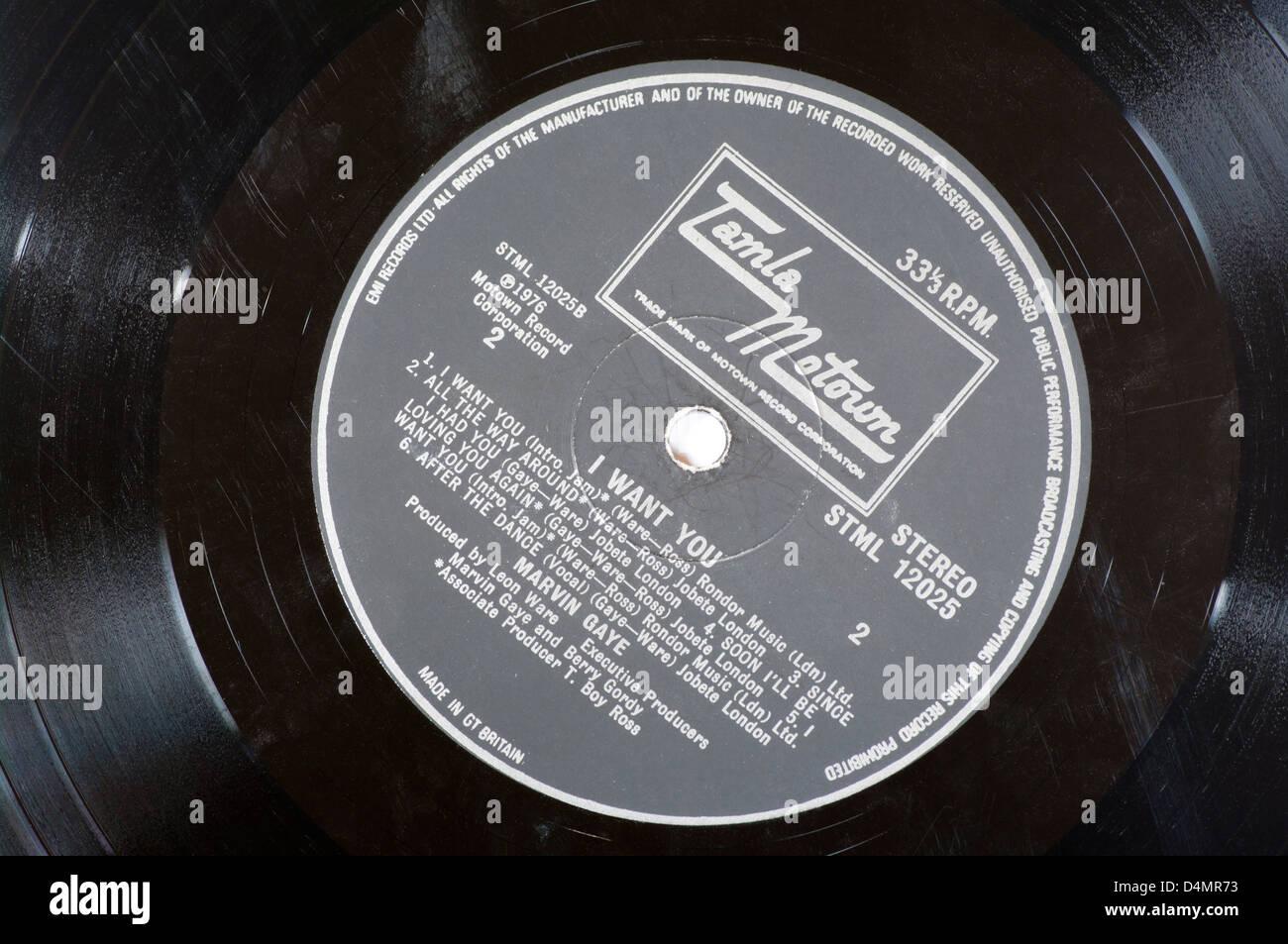 Tamla Motown Record Label On A Vinyl Lp Record Stock Photo