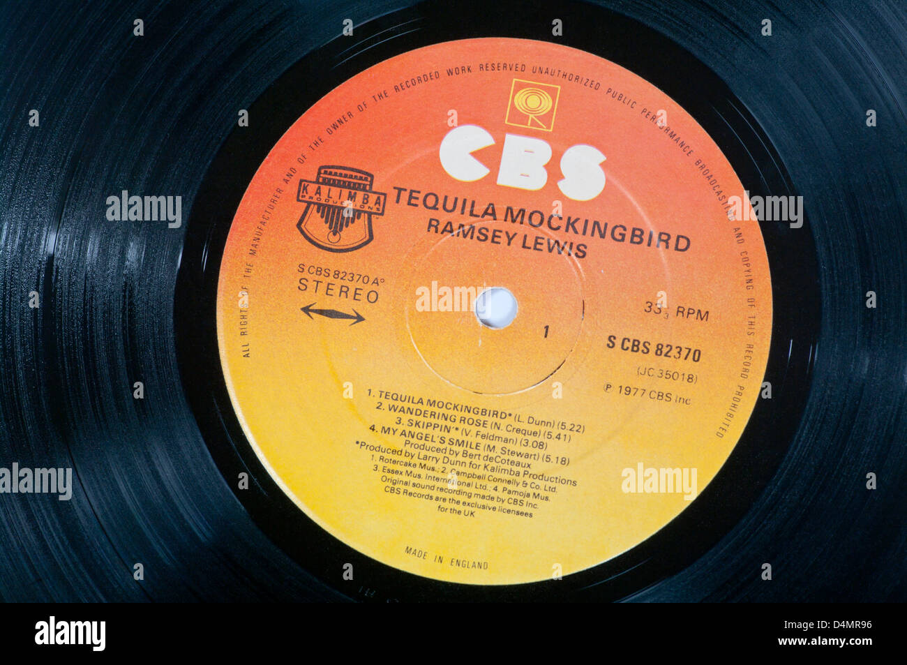 CBS Record Label On A Vinyl LP Record - Stock Image