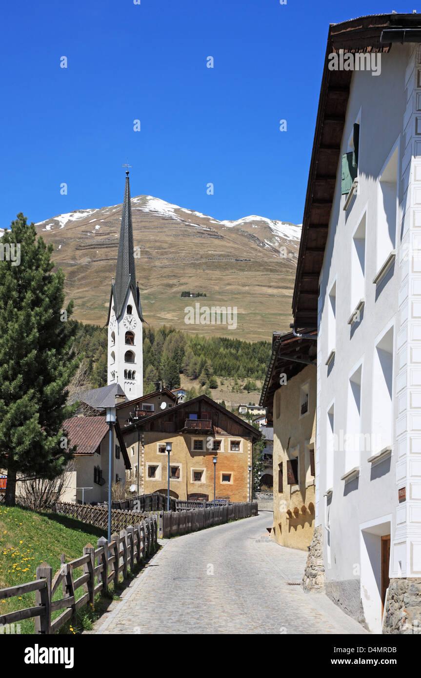Switzerland, Canton Graubünden, Ober-Engadin, Zouz Stock Photo