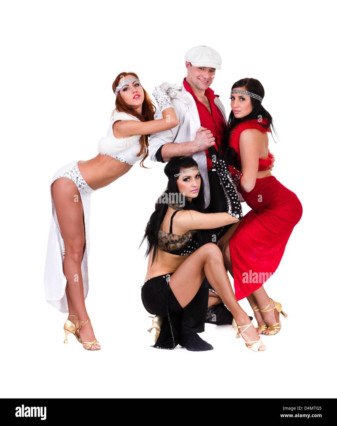 d3626a3a66d5 cabaret dancer team dressed in vintage costumes Stock Photo ...