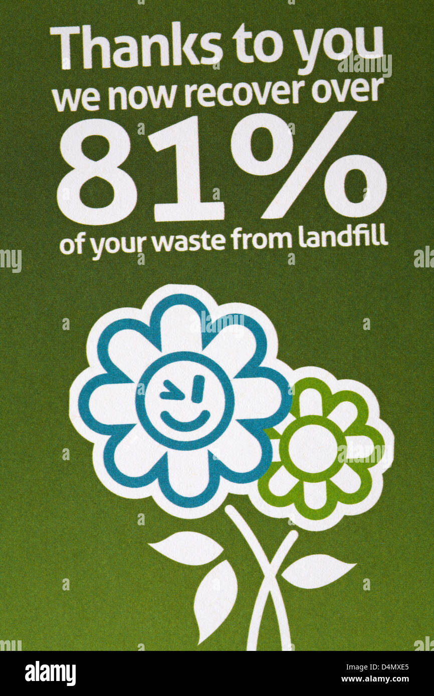 thanks to you we now recover over 81% of your waste from landfill - information from Bournemouth Borough Council - Stock Image