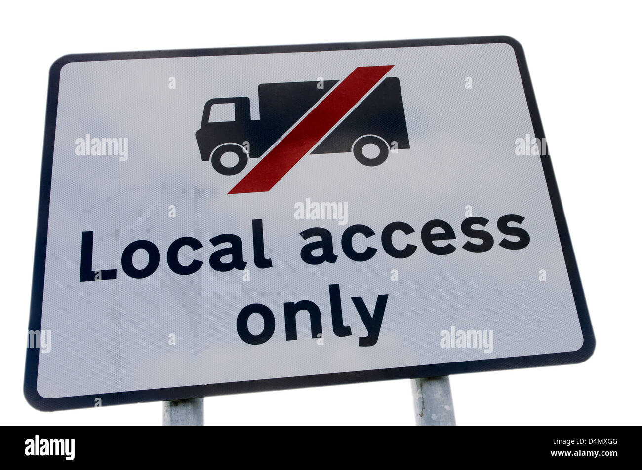 Sign warning route is for Local Access only, and for lorries not to use it as a through road. - Stock Image