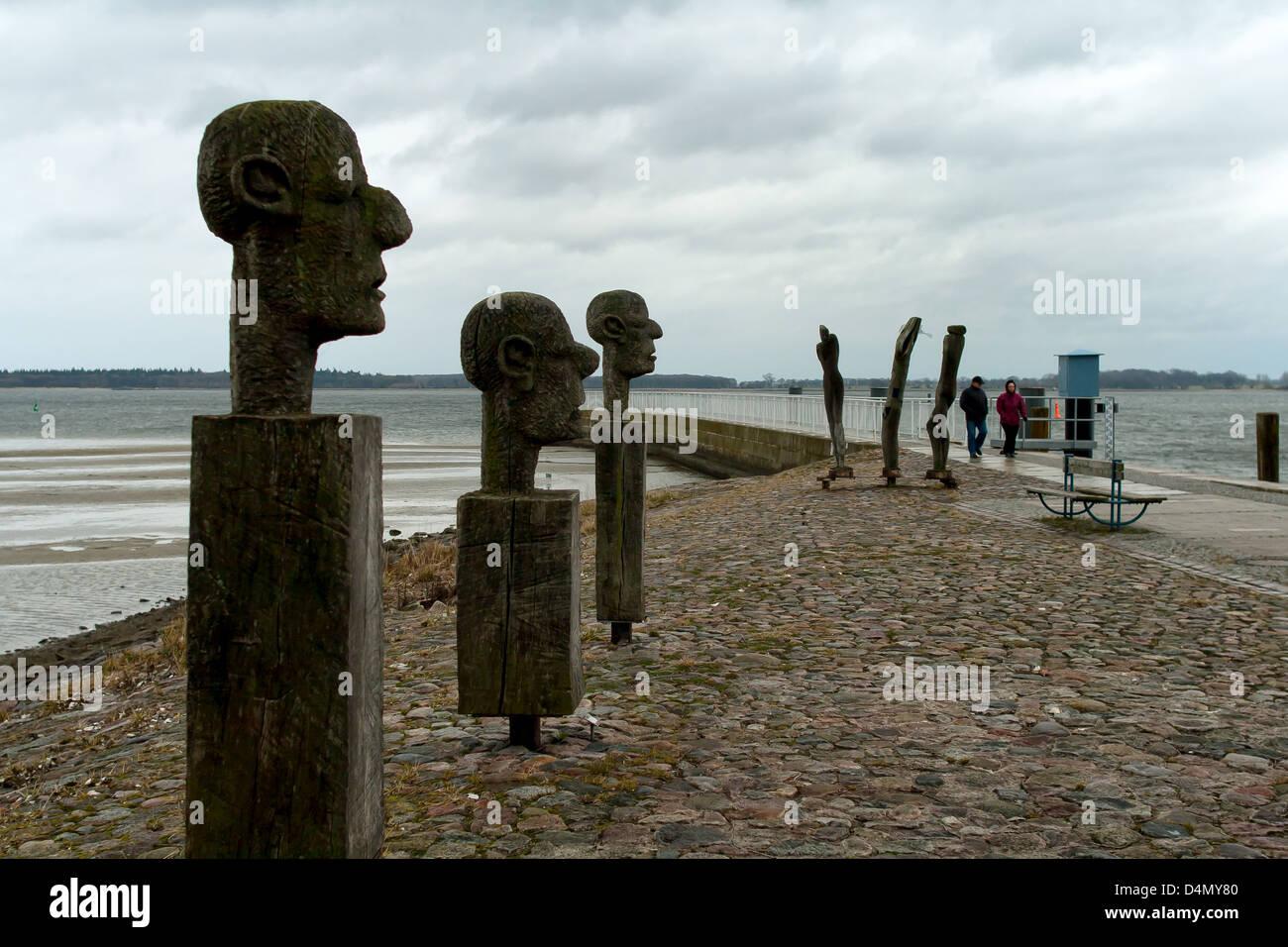 Greifswald, Germany, wooden sculptures at the Danish unions Wiek - Stock Image