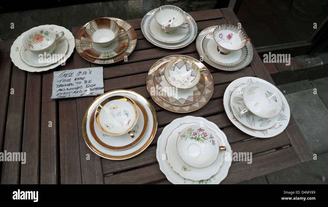 A table with1950s vintage tea cup saucer and plate sets labelled u0027triosu0027 for & Tea Set Display Stock Photos u0026 Tea Set Display Stock Images - Alamy
