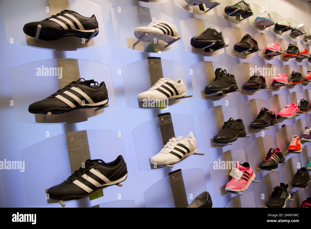 uk availability fcab1 bd65f Lviv, Ukraine, sports shoes on display in a shop adidas