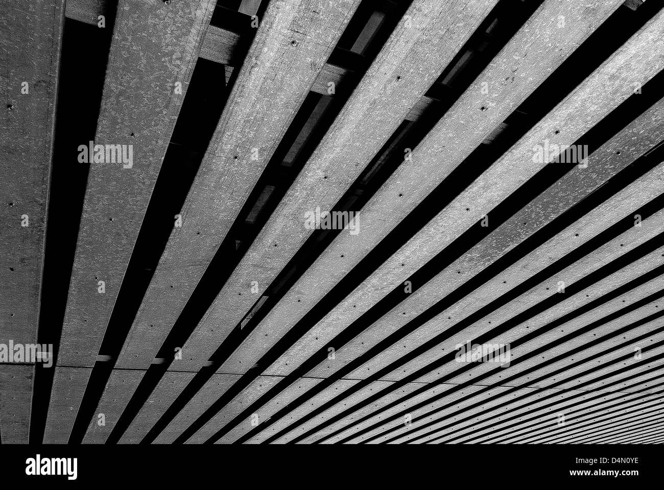 Metal planks that give the impression of depth, at thessaloniki's town hall - Stock Image