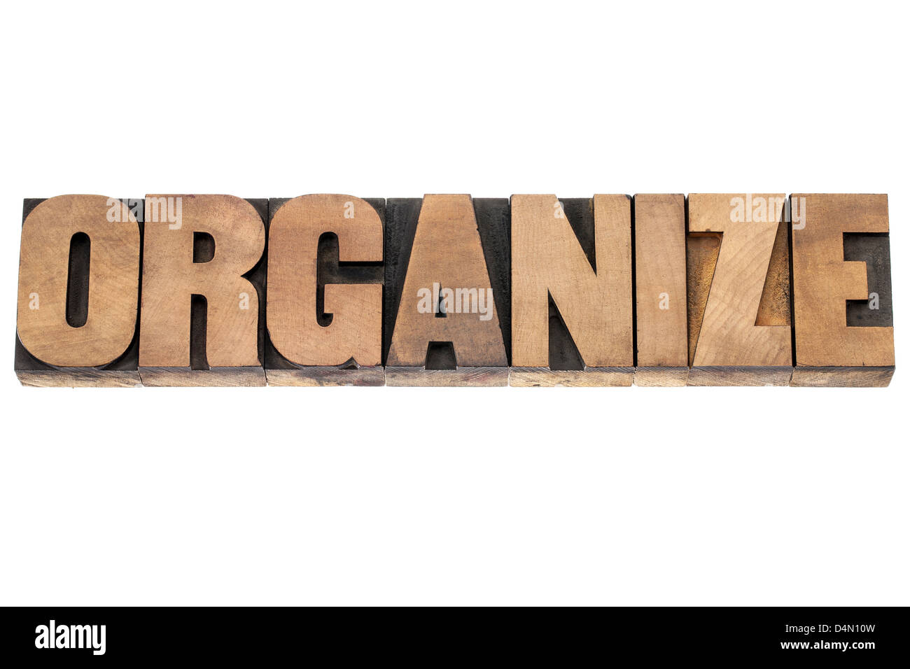 organize word - isolated word in vintage letterpress wood type printing blocks - Stock Image