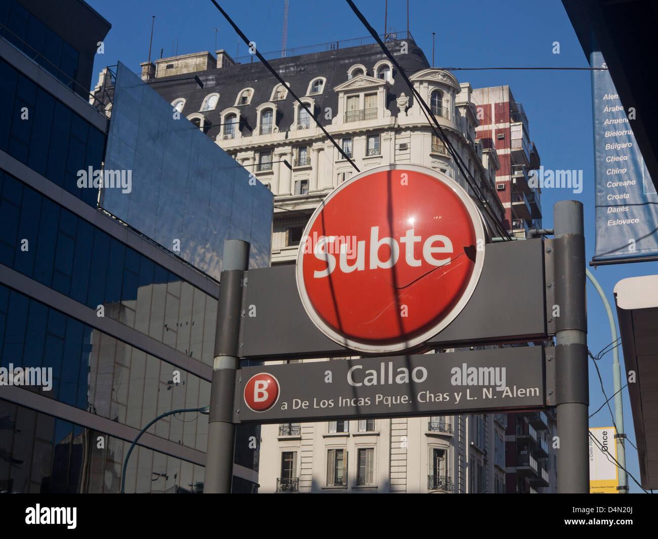 Calla 'subte' underground station in Buenos Aires, Argentina - Stock Image