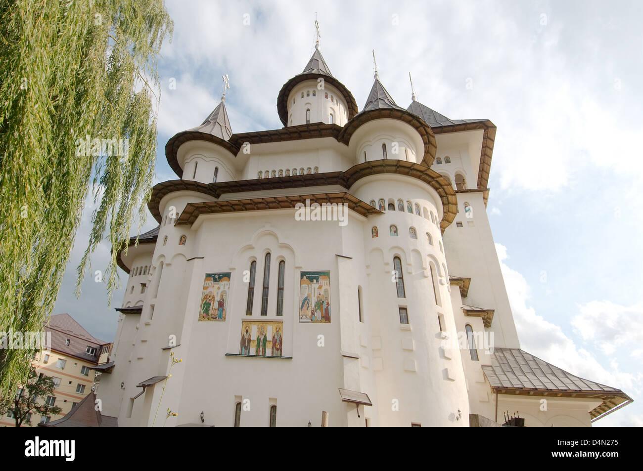 orthodox church, Gura Humorului, Bukovina, Romania  - Stock Image