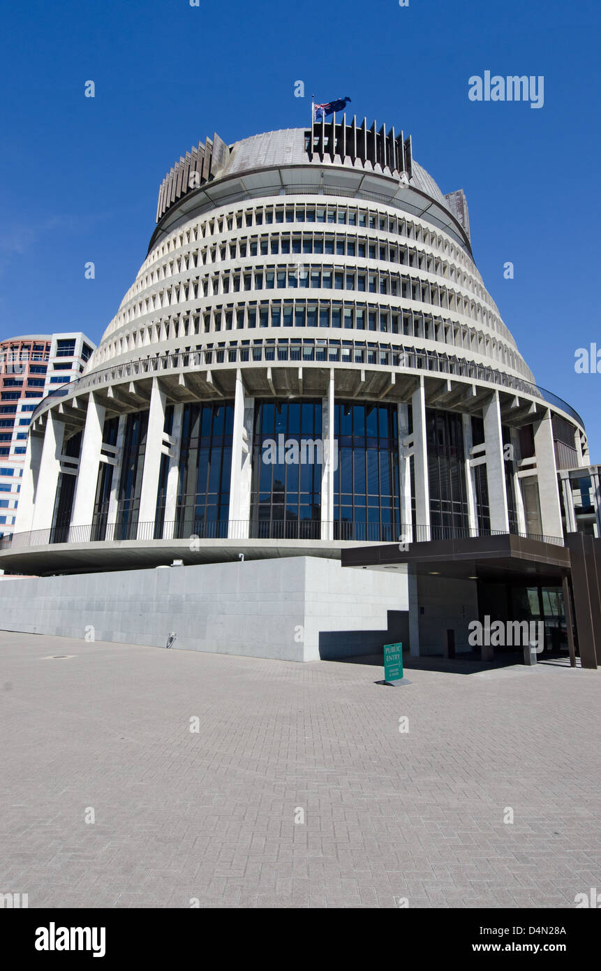 Beehive building - Parliament of New Zealand in Wellington city. Stock Photo