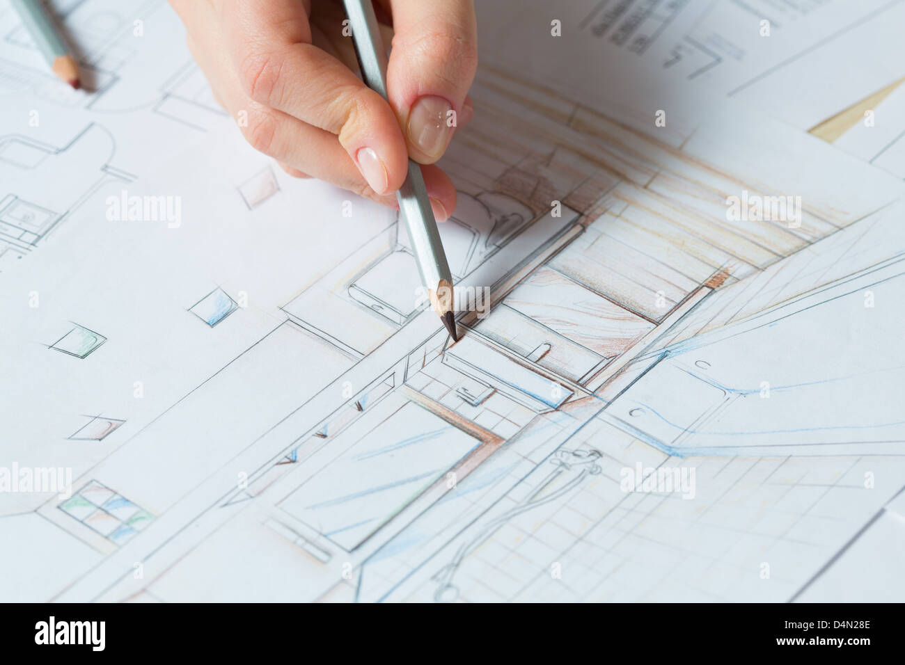 Bathroom Layout Design Tool Interior Designer Works On A Hand Drawing Sketch Using