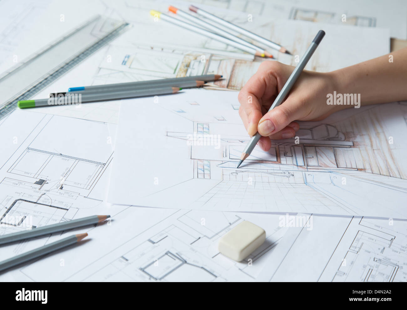 interior design hand drawings. Interior Designer Works On A Hand Drawing Sketch Using Color Pencils, Rule And Rubber Design Drawings S