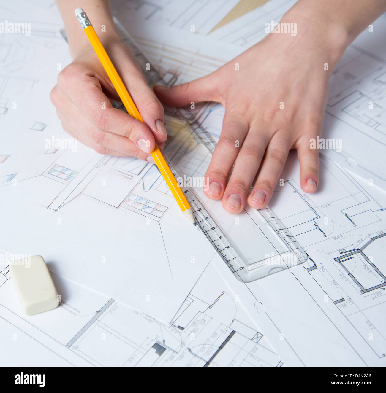 Architectural drawing pencils stock photos architectural - Hand drafting for interior design ...