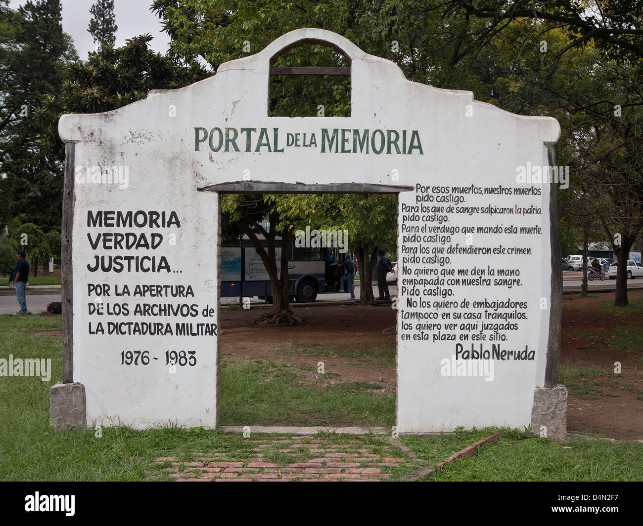 Arch in memory of disappeared during military dictatorship, with words by poet Pablo Neruda. Salta, Argentina - Stock Image