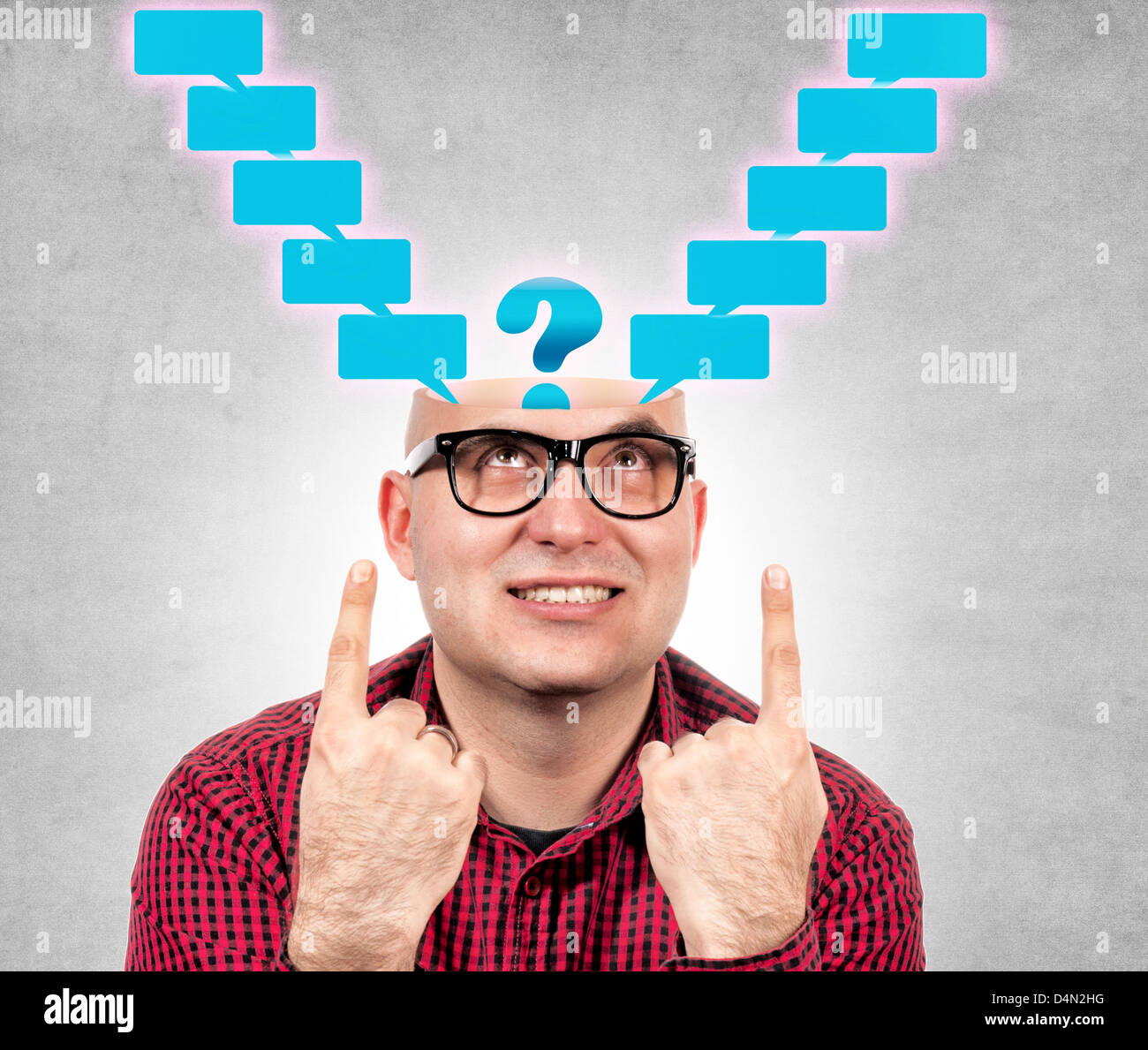 Funny man with the opened head and blank speech - Stock Image
