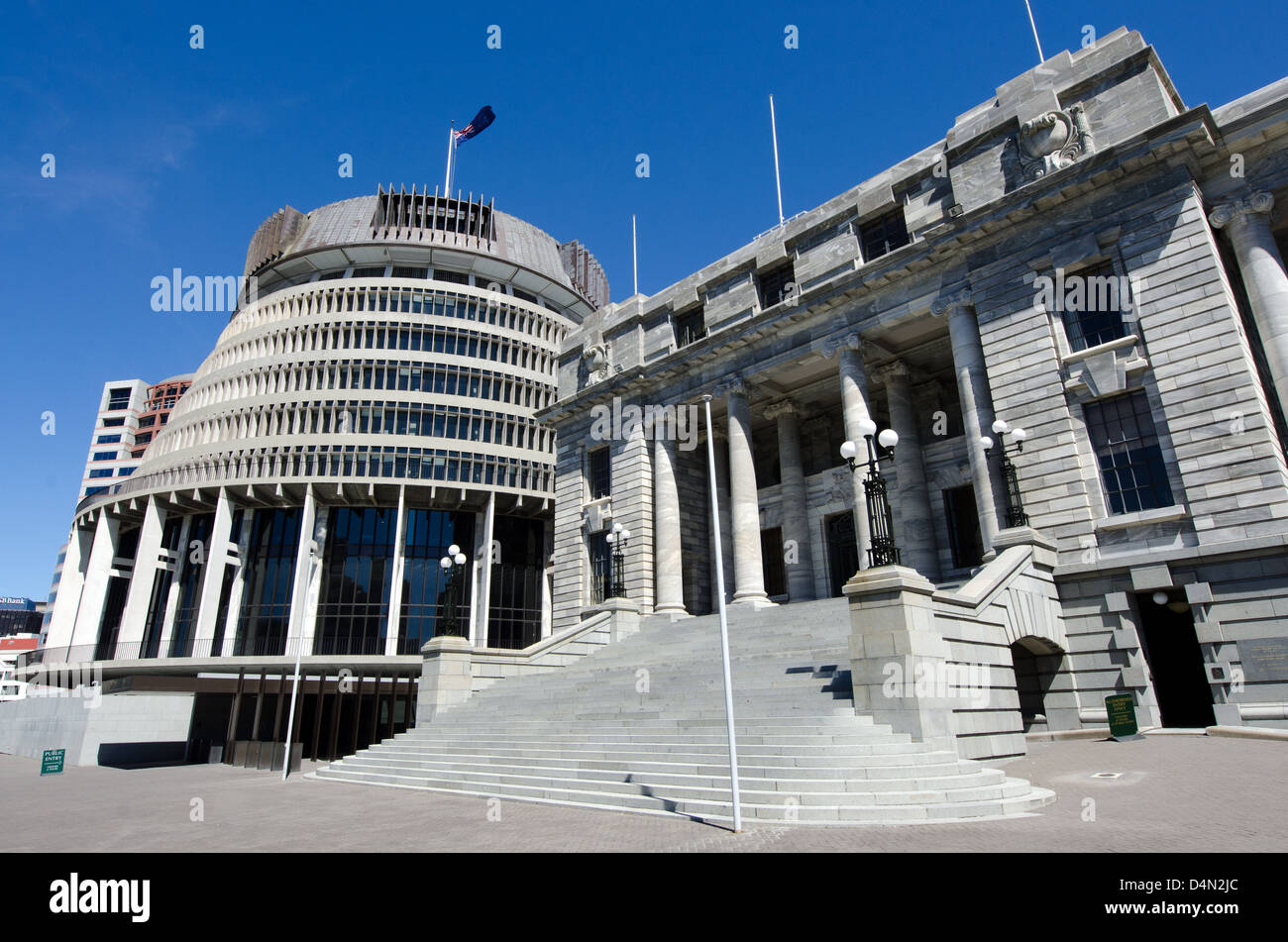 The Beehive building - Parliament of New Zealand in Wellington city. Stock Photo
