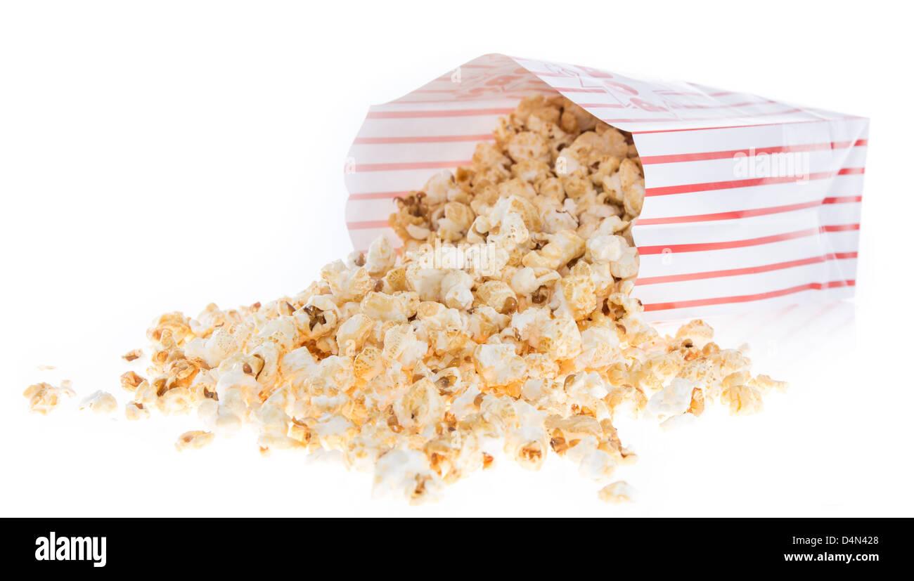 Popcorn bag isolated on white background - Stock Image