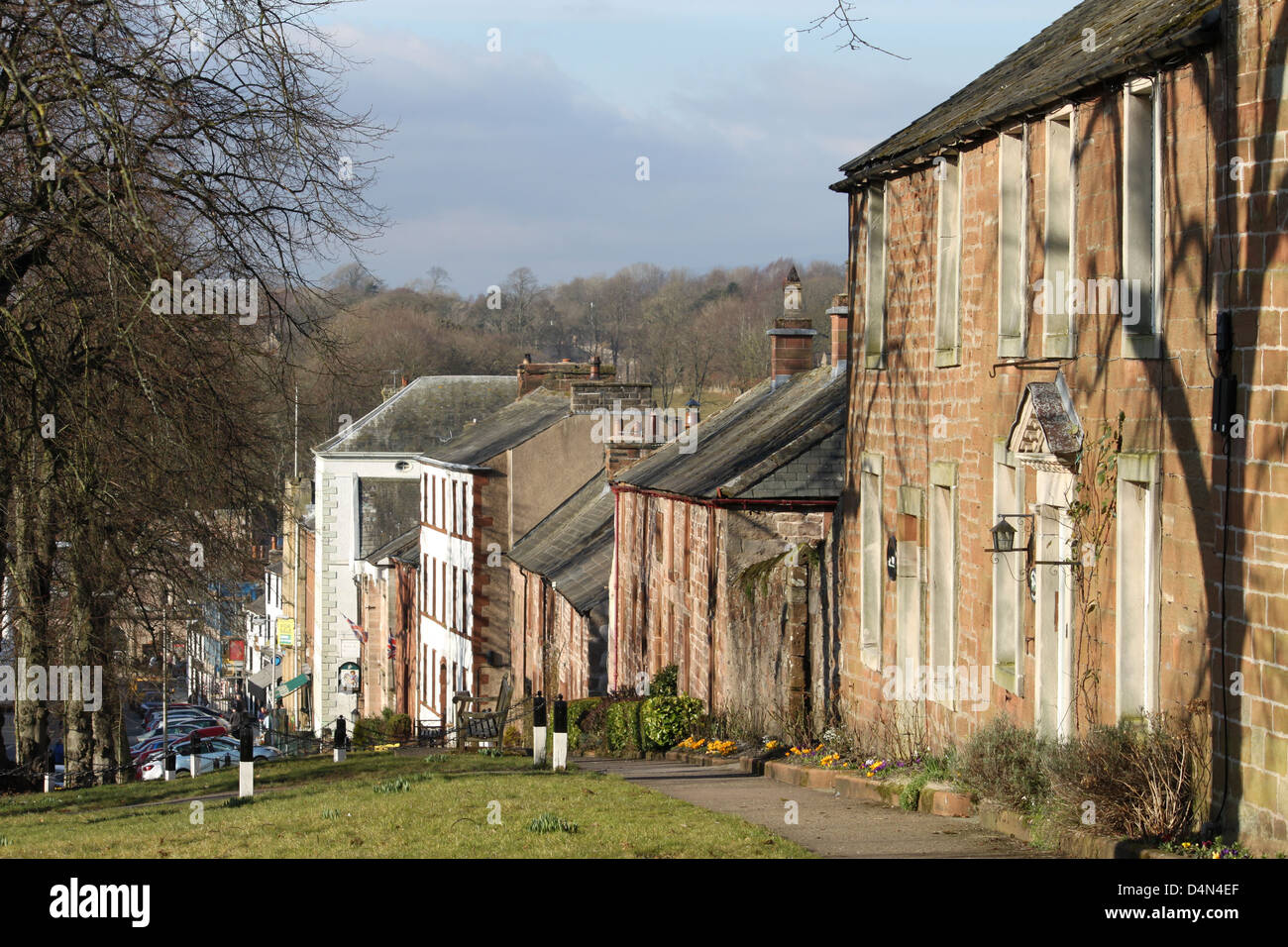 View down Boroughgate in Appleby, Cumbria past outside of St. Annes Hospital (Almshouse) - Stock Image