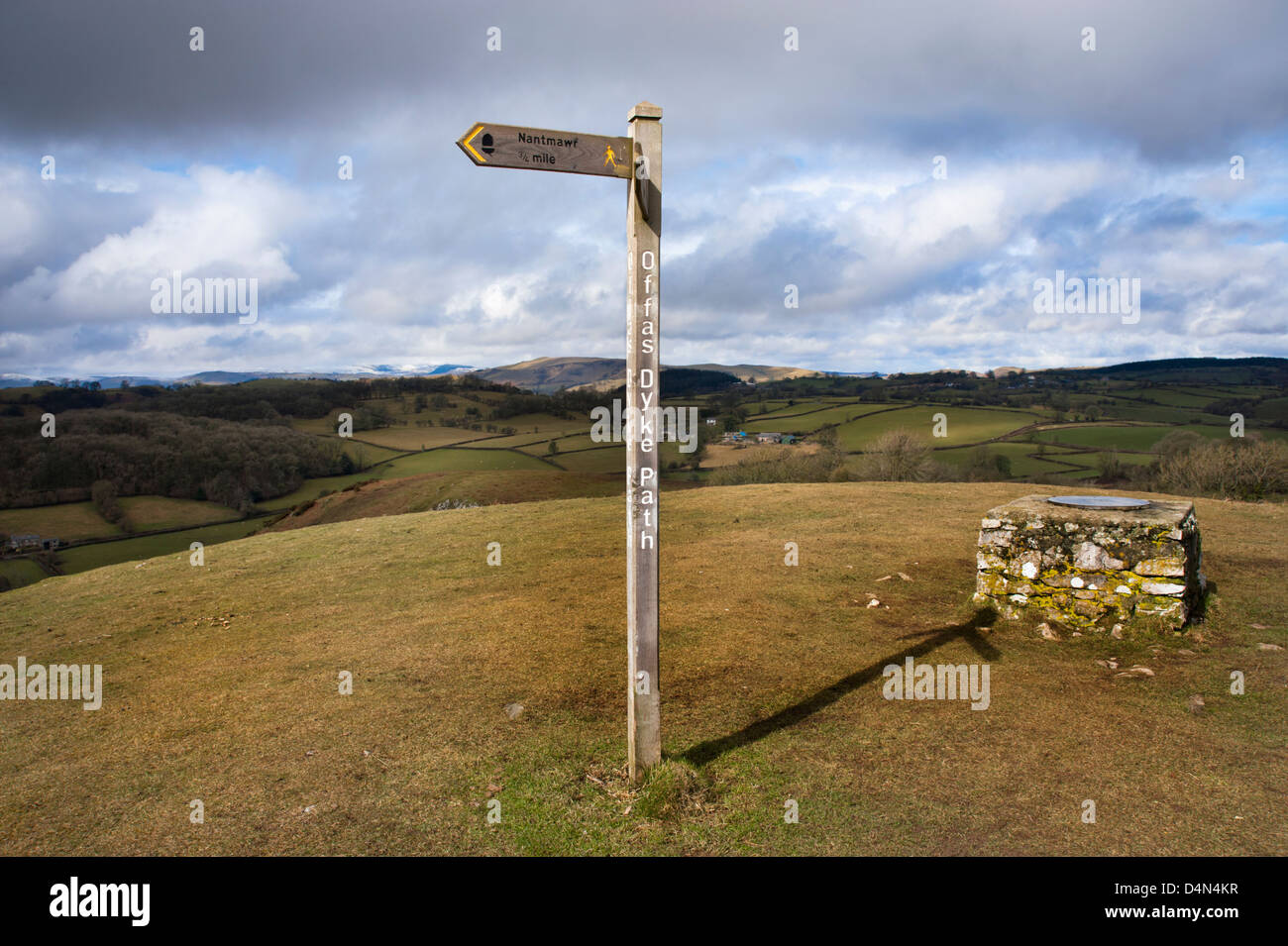 Offa's Dyke National Trail at Moelydd hill, Shropshire, UK - Stock Image