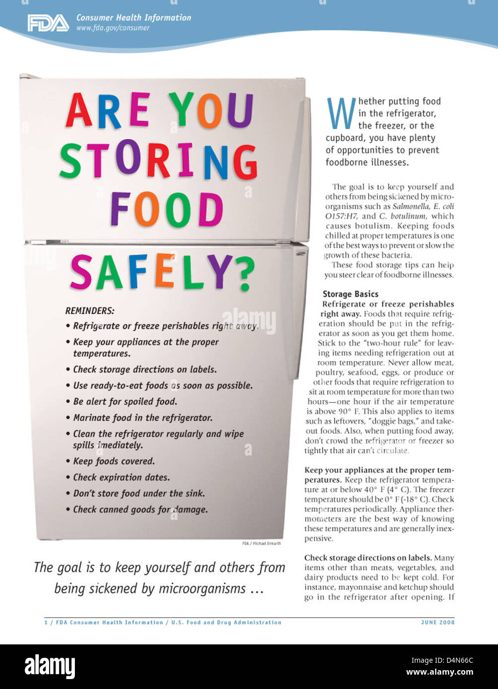 Are You Storing Food Safely? - Stock Image