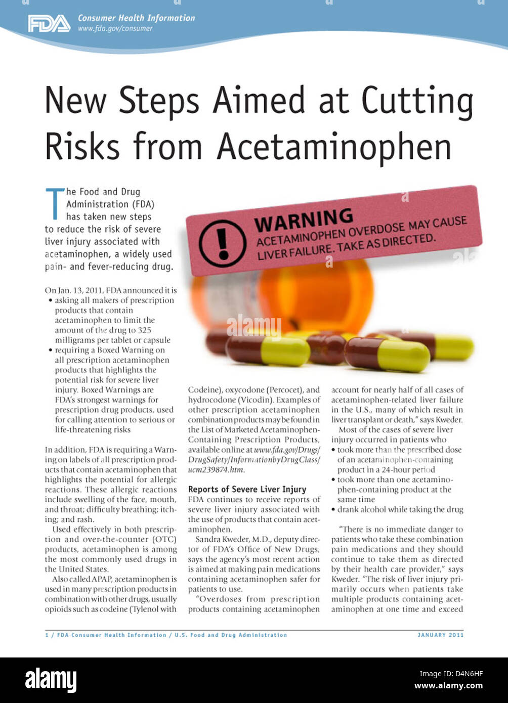 New Steps Aimed at Cutting Risks from Acetaminophen - Stock Image