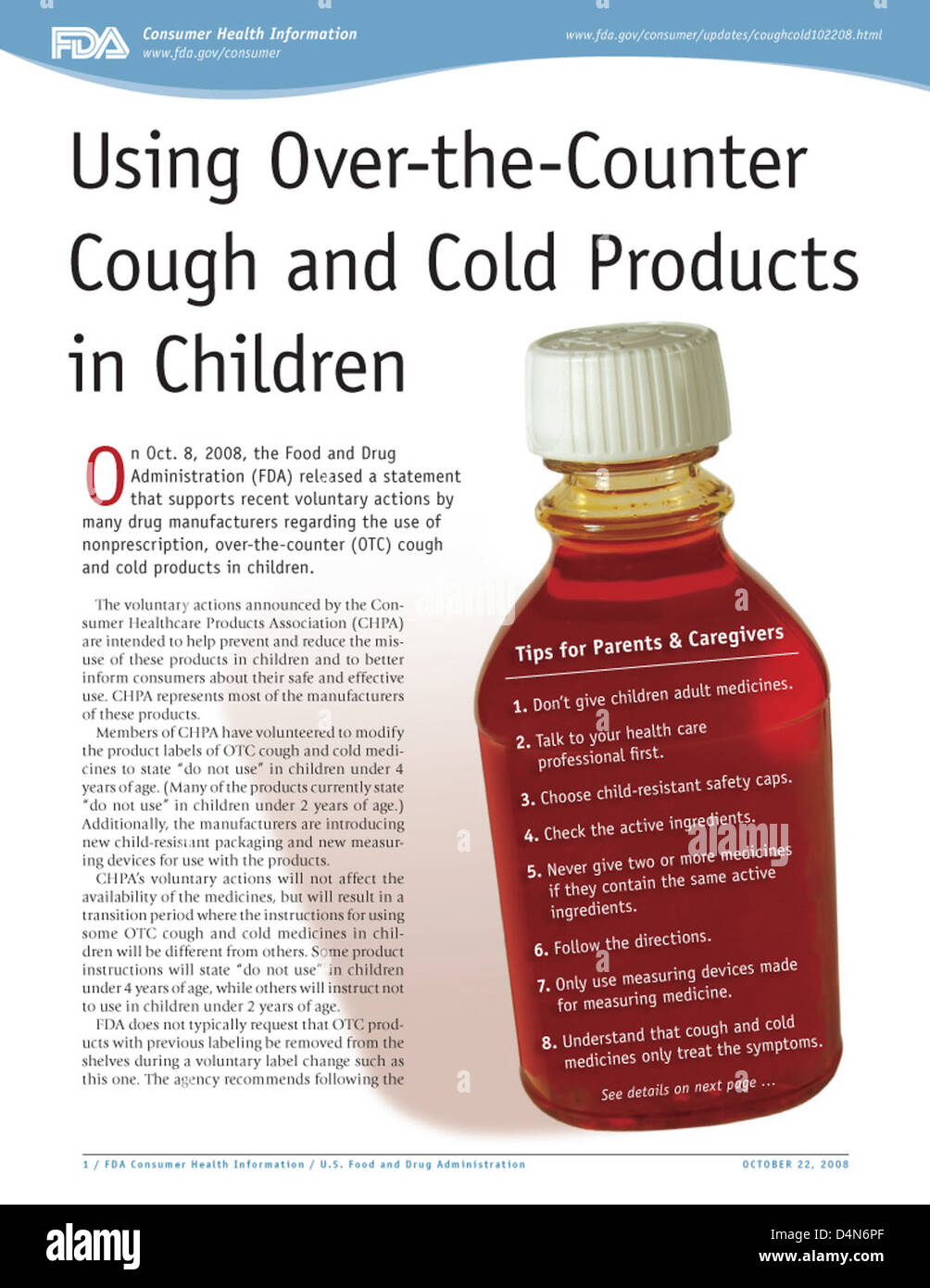 Using Over-the-Counter Cough and Cold Products in Children - Stock Image