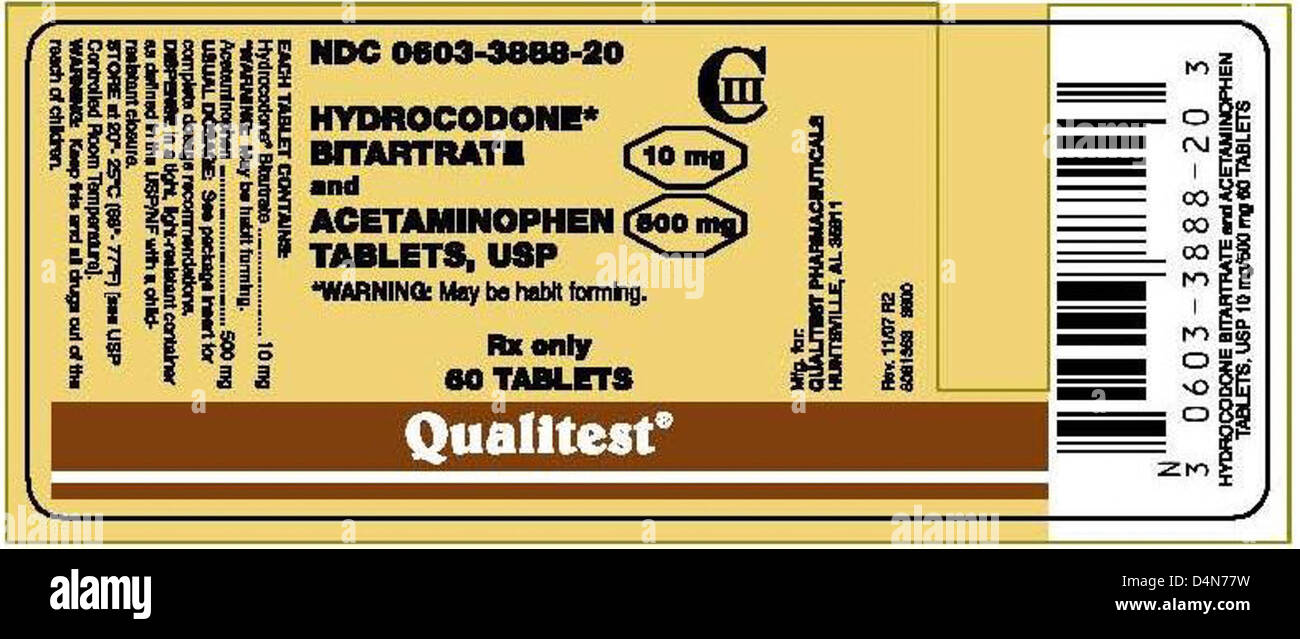 RECALLED - Hydrocodone Bitartrate and Acetaminophen Tablets - Stock Image