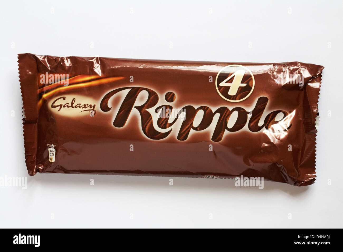 Packet Of 4 Galaxy Ripple Chocolate Bars Isolated On White