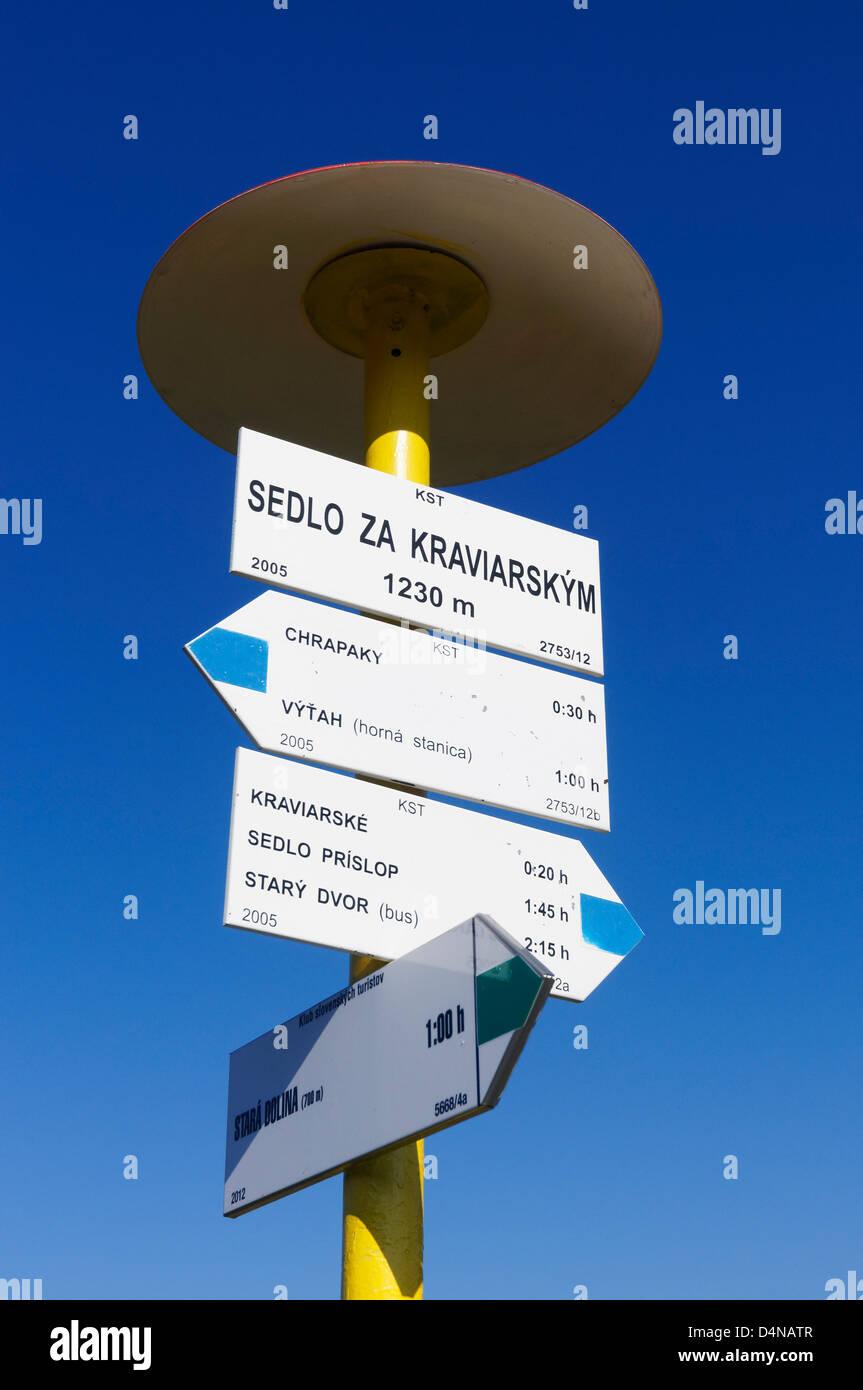 Walking signpost in the Mala Fatra, Zilinsky kraj, Slovakia. On the Sedlo za Kraviarskym. - Stock Image