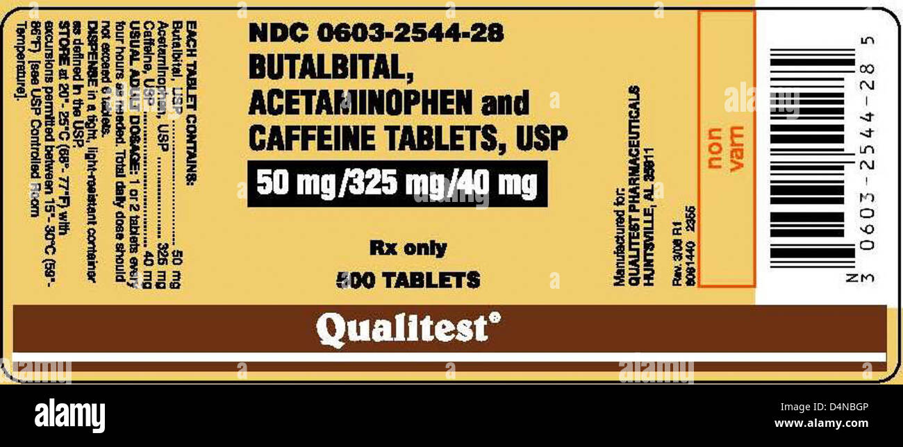 RECALLED - Butalbital, Acetaminophen, and Caffeine Tablets USP; Hydrocodone Bitartrate and Acetaminophen Tablets, - Stock Image