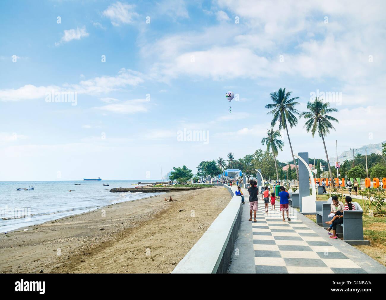 dili seaside promenade in east timor - Stock Image