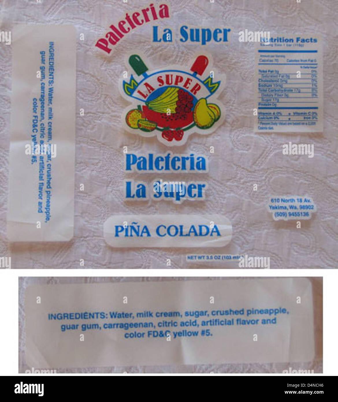 Recalled Paleteria La Super Pina Colada Flavored Ice Cream Bar