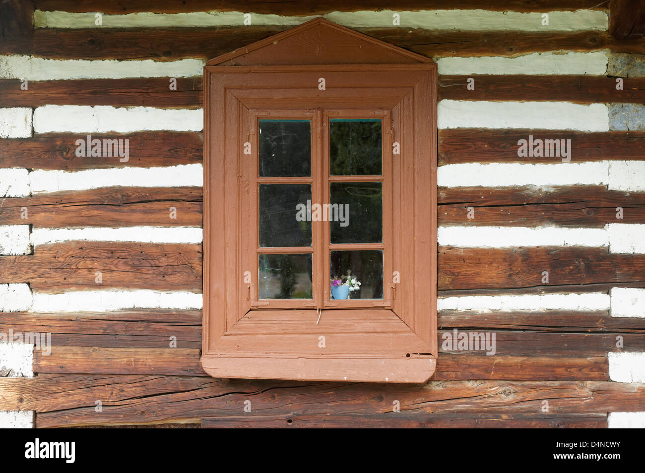 Window of peasants house, Orawa Ethnographic Museum, Malopolska, Poland - Stock Image