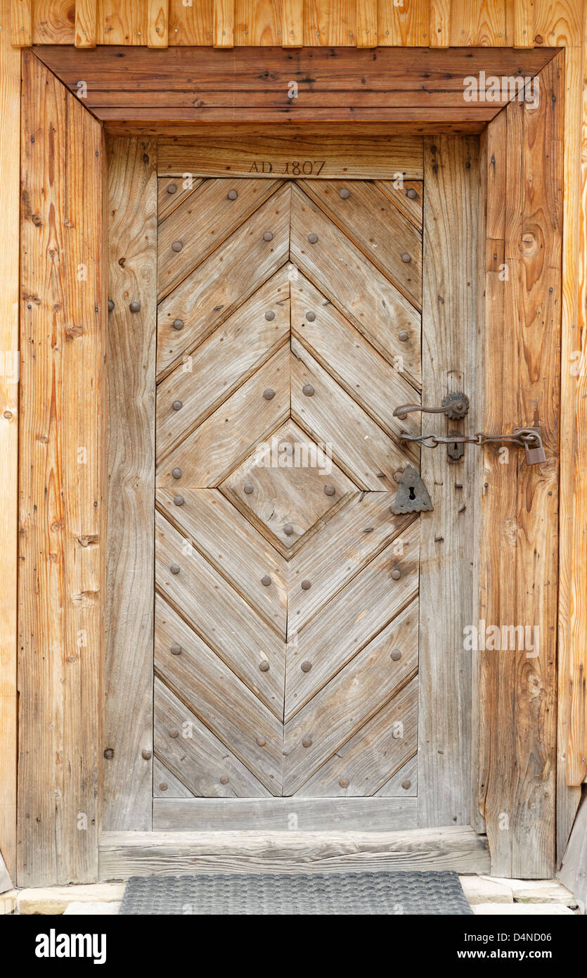 Wooden church door, Orawa Ethnographic Museum, Malopolska, Poland - Stock Image