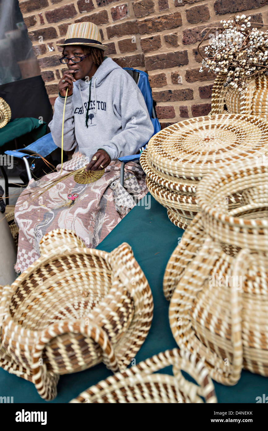 Gullah Woman Weaving Sweetgrass Baskets At The Historic