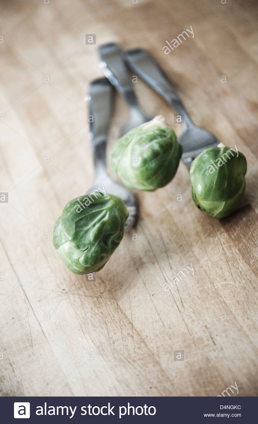 Brussel sprouts stuck on the end of forks - Stock Image