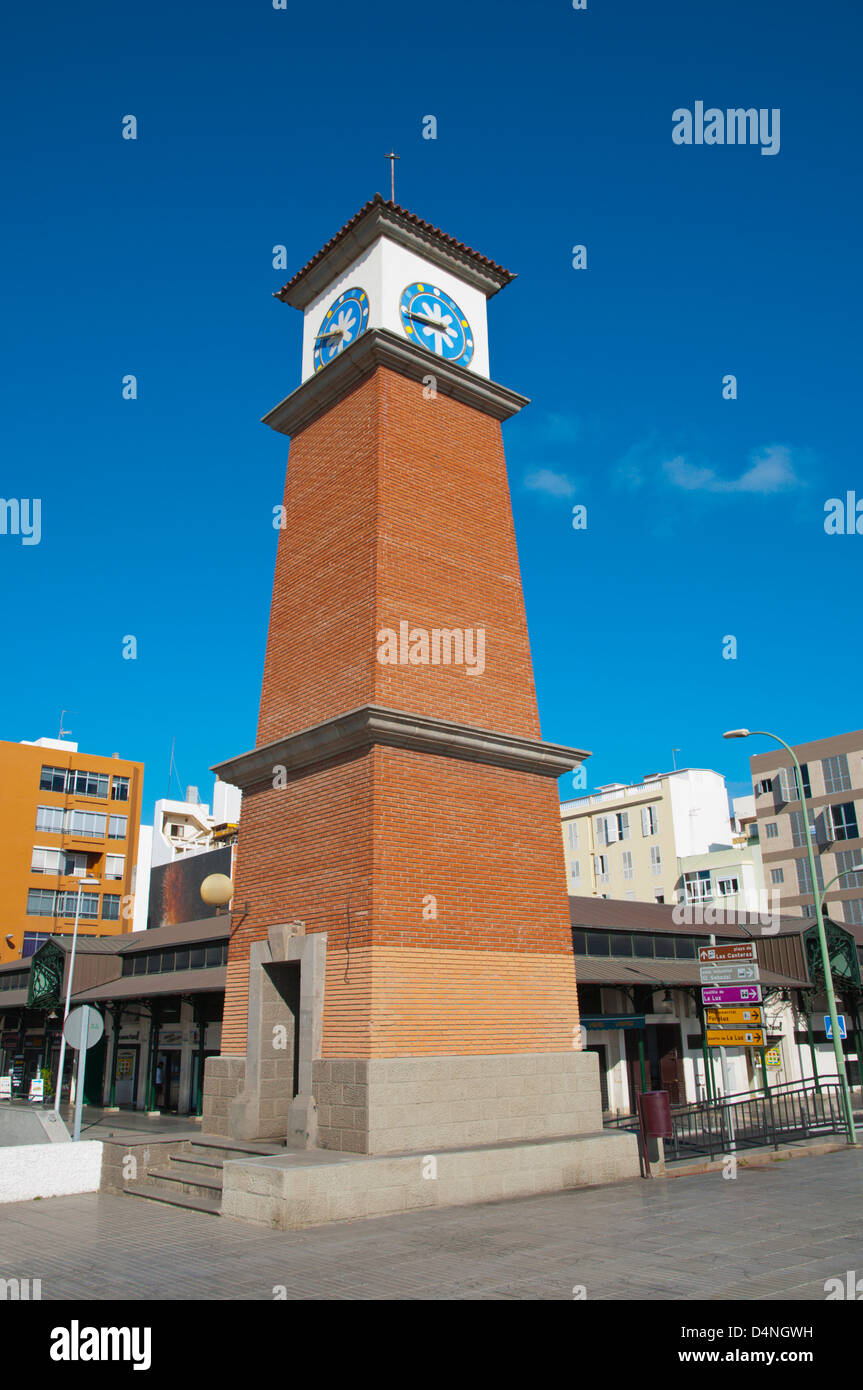 Clock tower outside Mercado del Puerto market hall Santa Catalina district Las Palmas city Gran Canaria island Spain - Stock Image