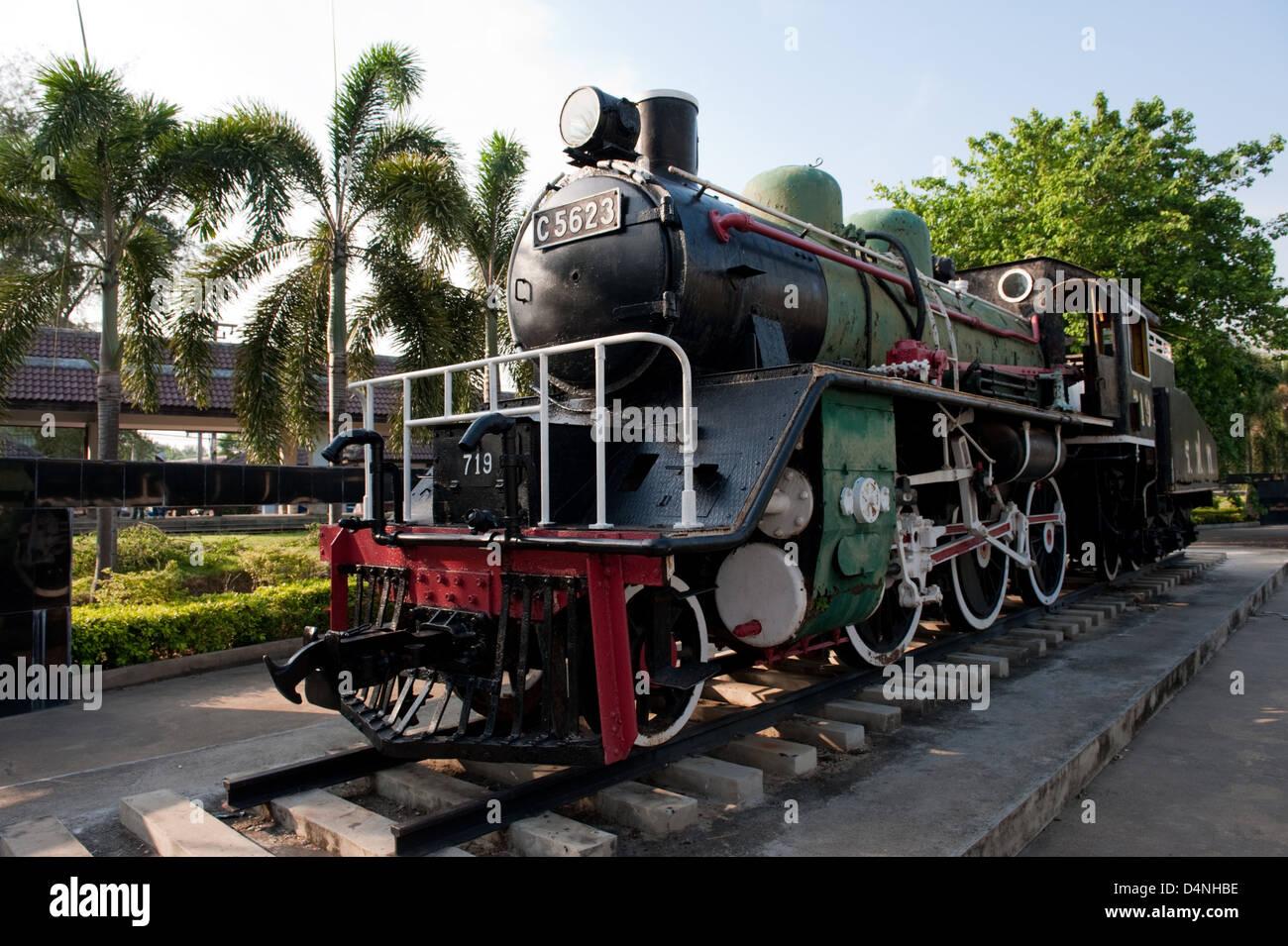 Kanchanaburi, Thailand, historical locomotive of the Thai-Burma Railway - Stock Image