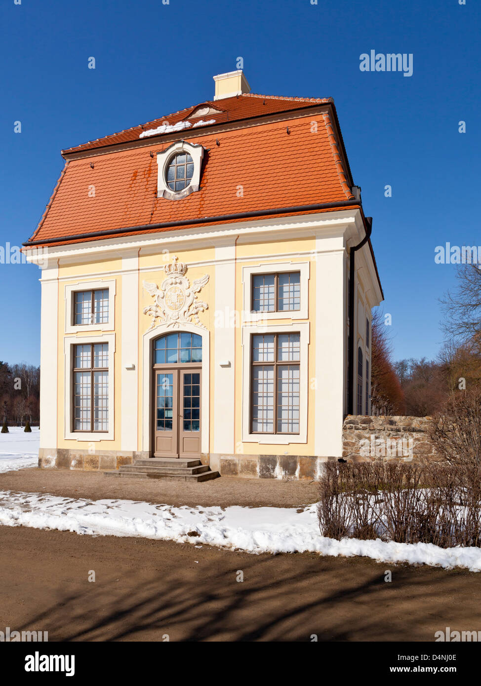 Cavalier's house (Kavaliershaus) at the Moritzburg castle in winter - Saxonia, Germany, Europe Stock Photo