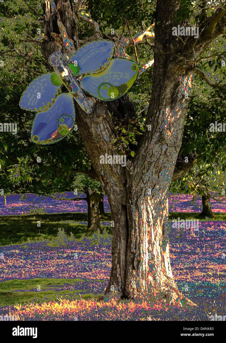Bucks - Hughenden estate - colourful open air sculpture - giant moth on a tree - computer enhanced interpretation - Stock Image
