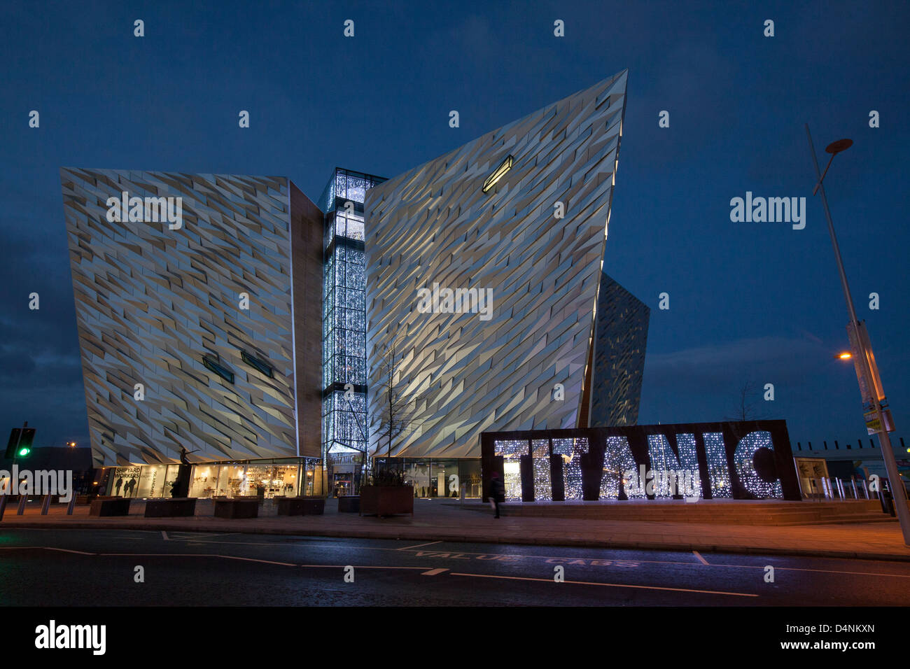 An evening view of the Titanic museum in Belfast. - Stock Image