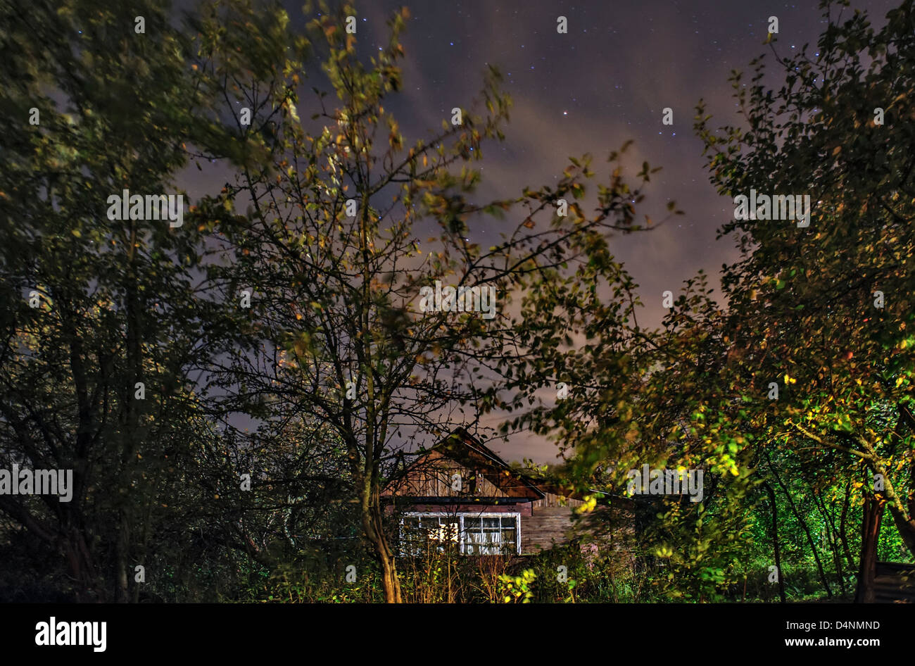 Small hut in the forest under night stars sky - Stock Image