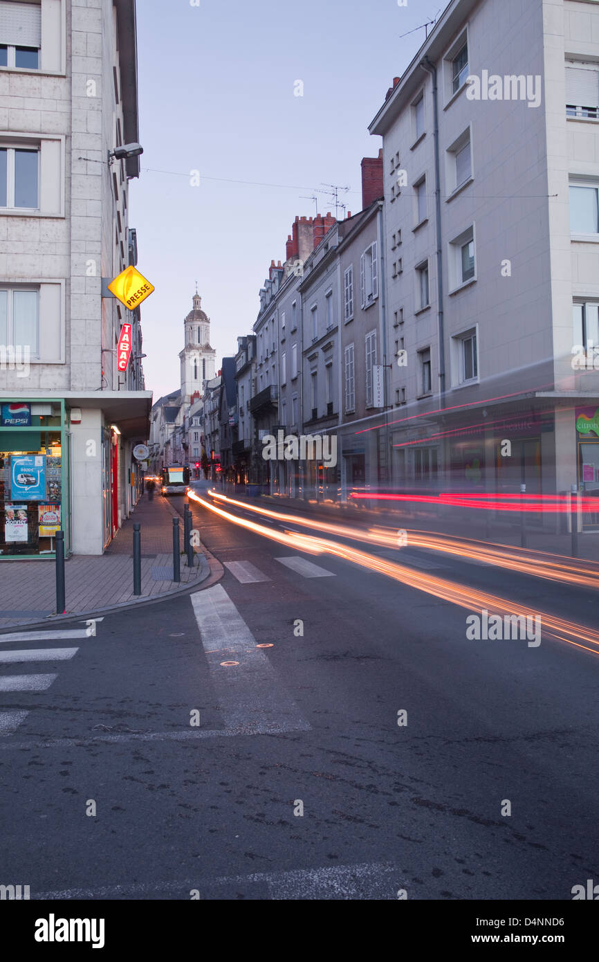 Traffic through the streets of Angers in France. - Stock Image