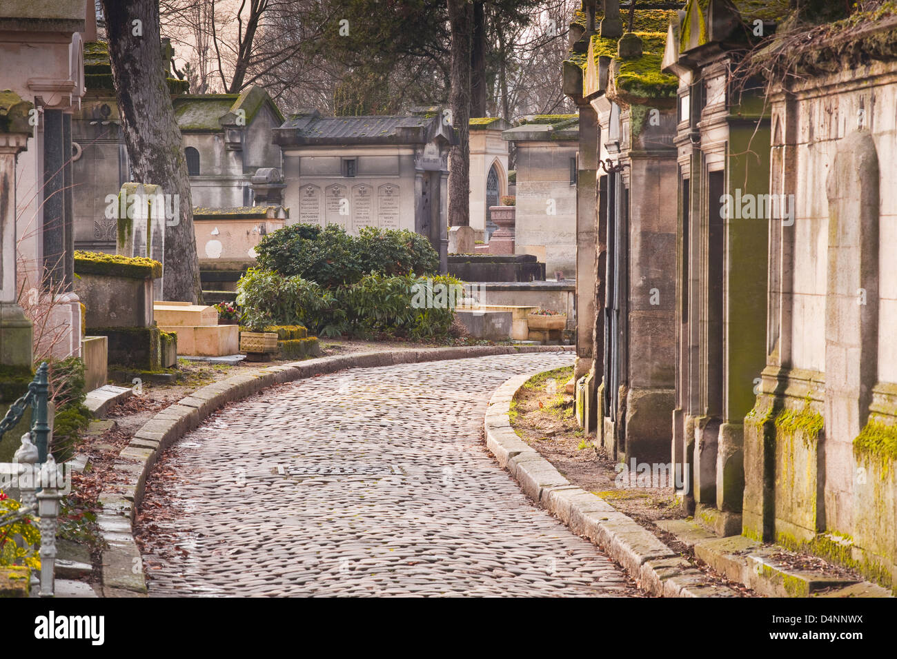 Graves in Pere lachaise cemetary in paris. Stock Photo