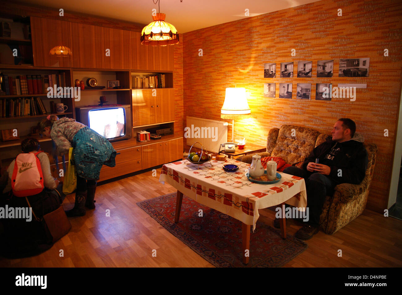DDR-Museum at the Spree, living room, Berlin, Germany - Stock Image