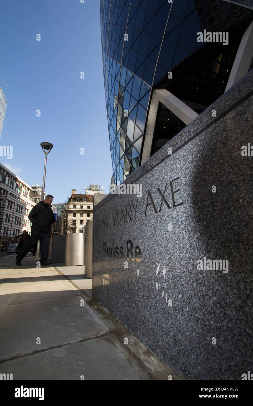 the Gherkin 30 St Mary Axe London Swiss Re building - Stock Image