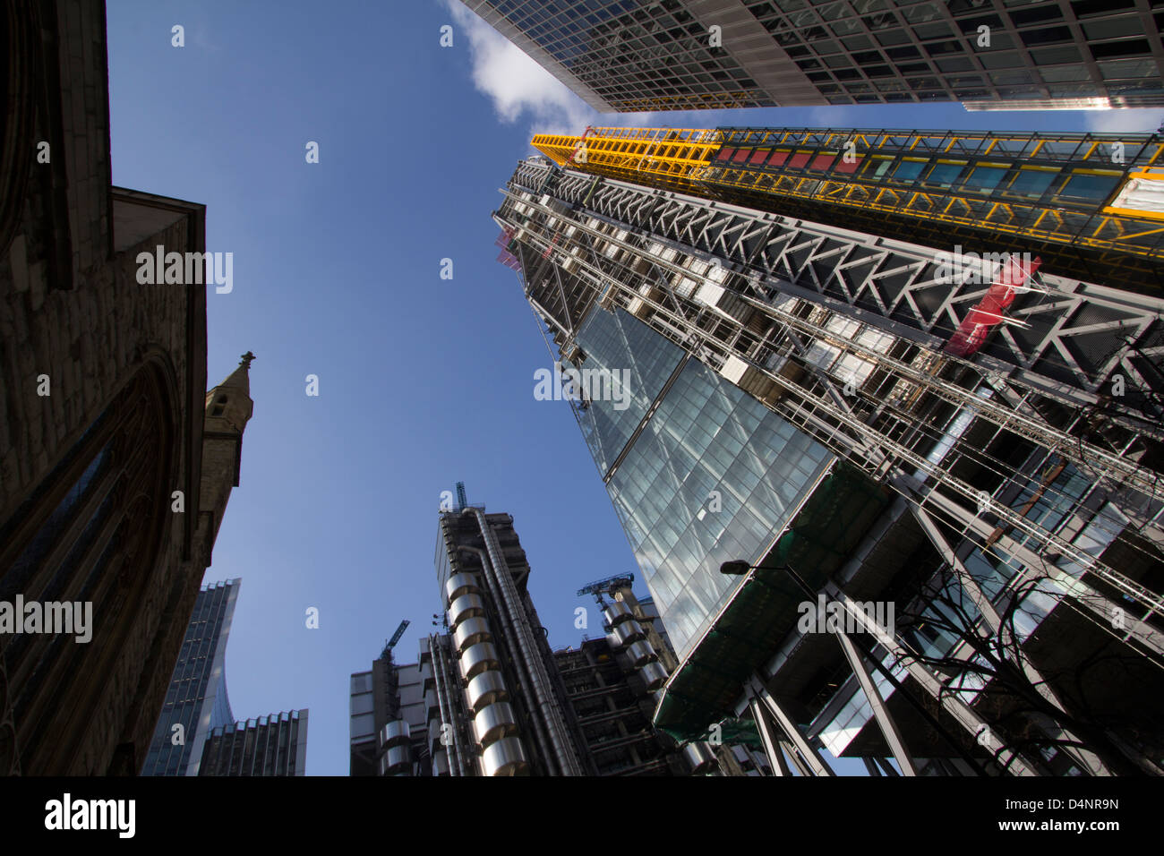 The Leadenhall building 122 Leadenhall Street The cheesegrater (with yellow scaffolding) which is to become the - Stock Image