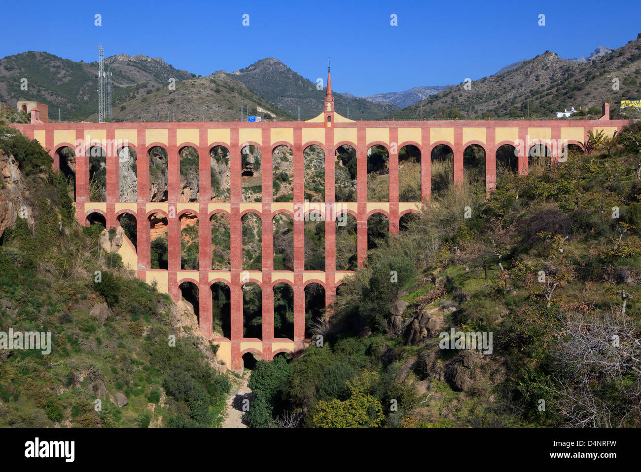 The 19th century Eagle Aqueduct (Acueducto del Aguila) between Nerja and Maro on the Costa del Sol in Spain - Stock Image